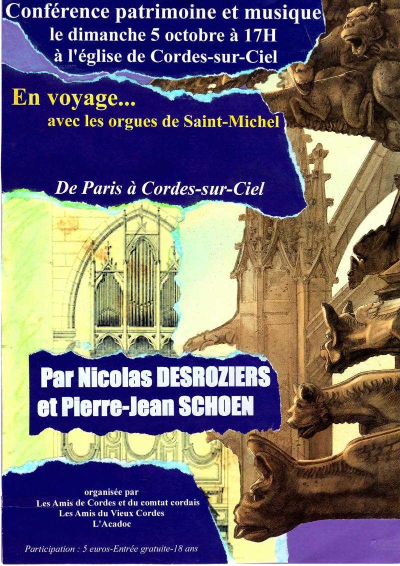 Affiche conférence concert orgue de Saint Michel - Cordes sur Ciel