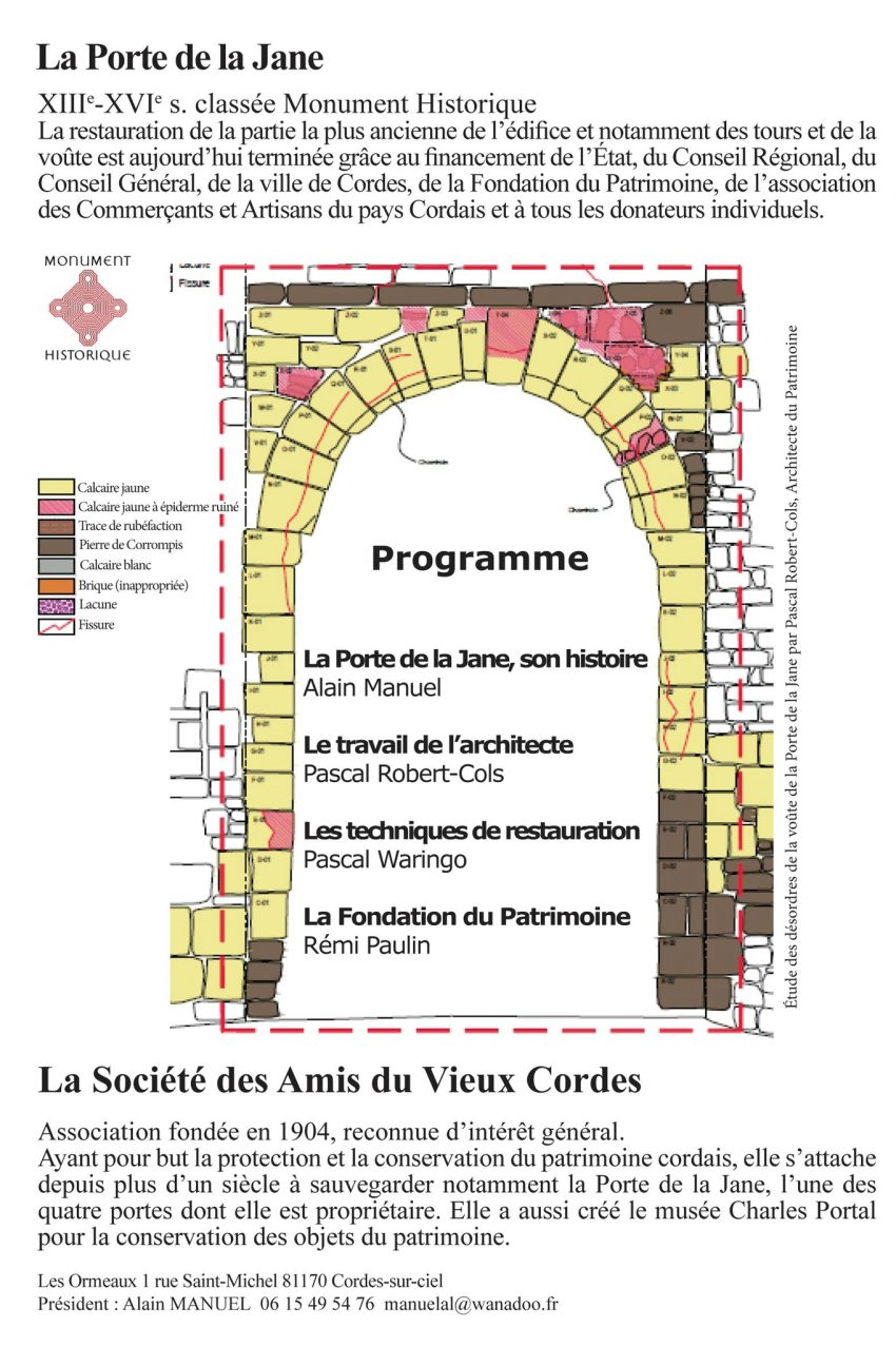 Restauration de la Porte de la Jane