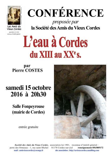Conférence - L'eau à CORDES du XIII au XXe siècle