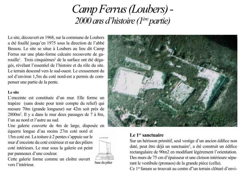 Bulletin 14 - Camp Ferrus (Loubers) - 2000 ans d'histoire (1 ère partie)