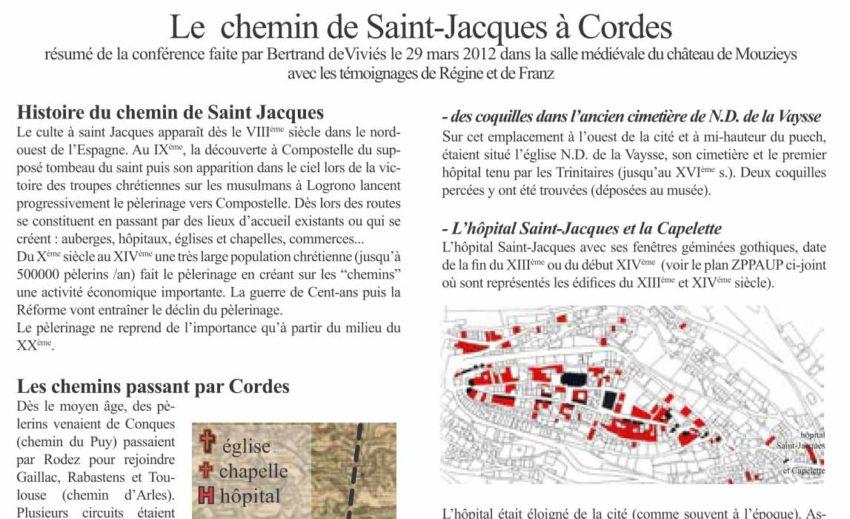Bulletin N° 10 - Le chemin de Saint-Jacques à Cordes