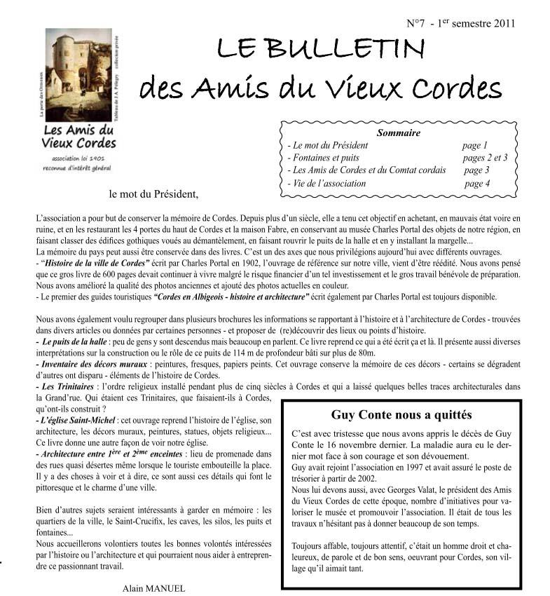 Bulletin N° 7 - La maîtrise de l'eau à Cordes