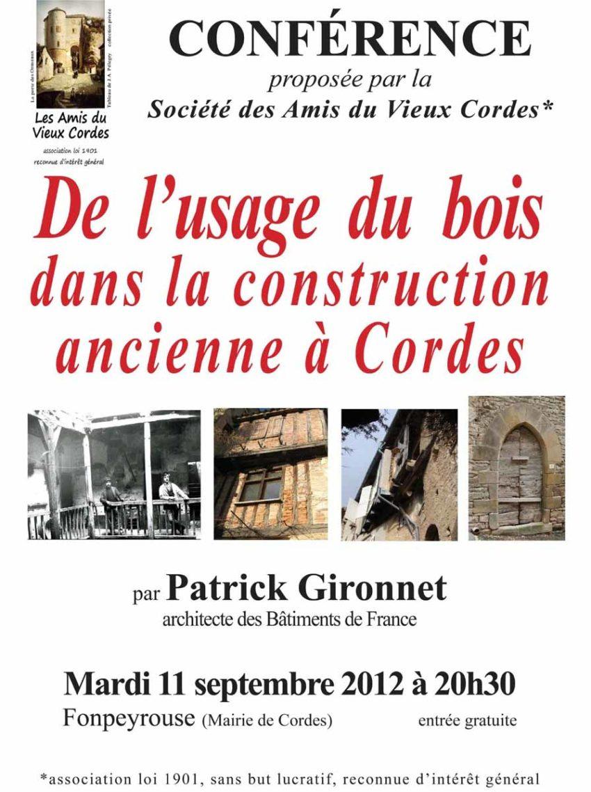 DE L'USAGE DU BOIS DANS LA CONSTRUCTION ANCIENNE A CORDES