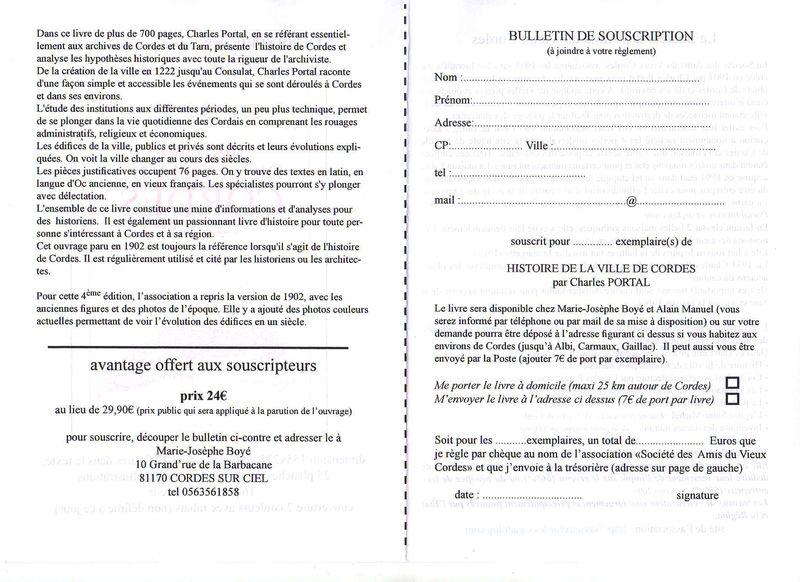 HISTOIRE DE LA VILLE DE CORDES - Bulletin de souscription