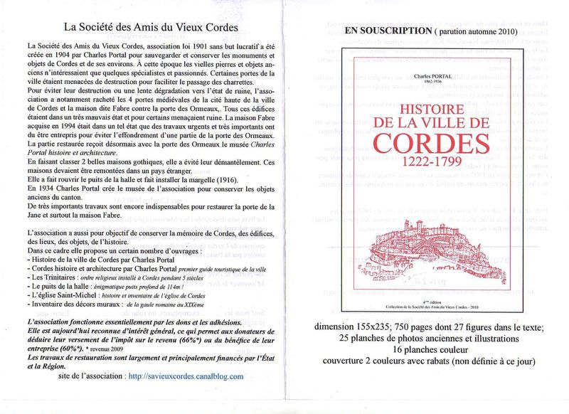 HISTOIRE DE LA VILLE DE CORDES - Renseignements