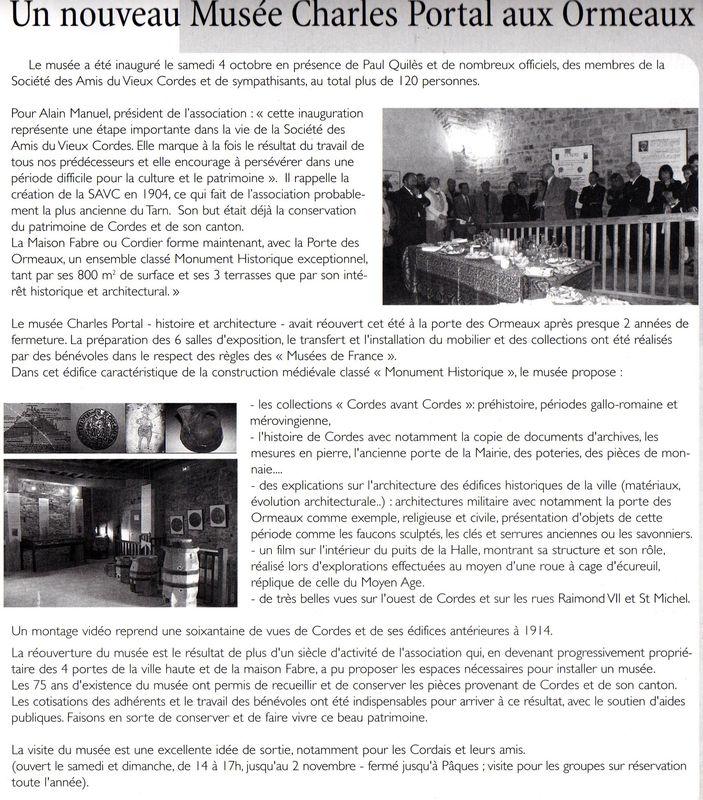Coupure de presse : inauguration du Musée Charles Portal (2008)