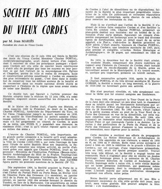 La Société des Amis du Vieux Cordes - Historique en 1966