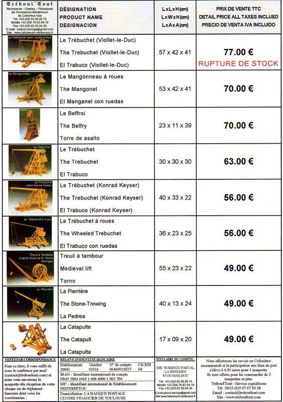 Maquettes Treboultout - Tarifs