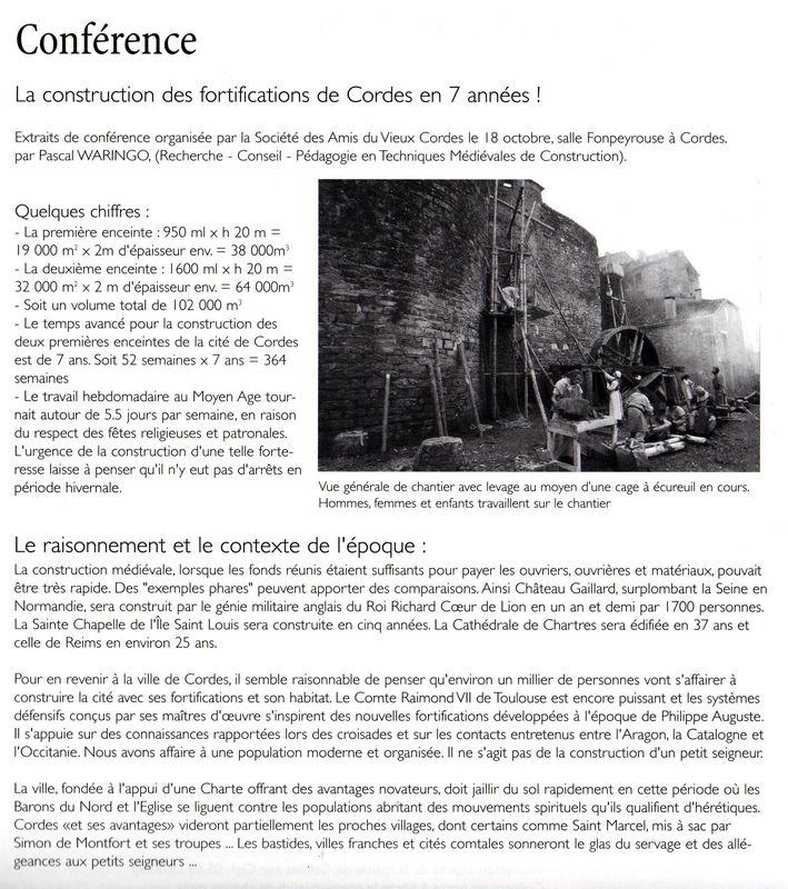 Presse _ Conférence sur la construction des fortifications de Cordes en 7 années