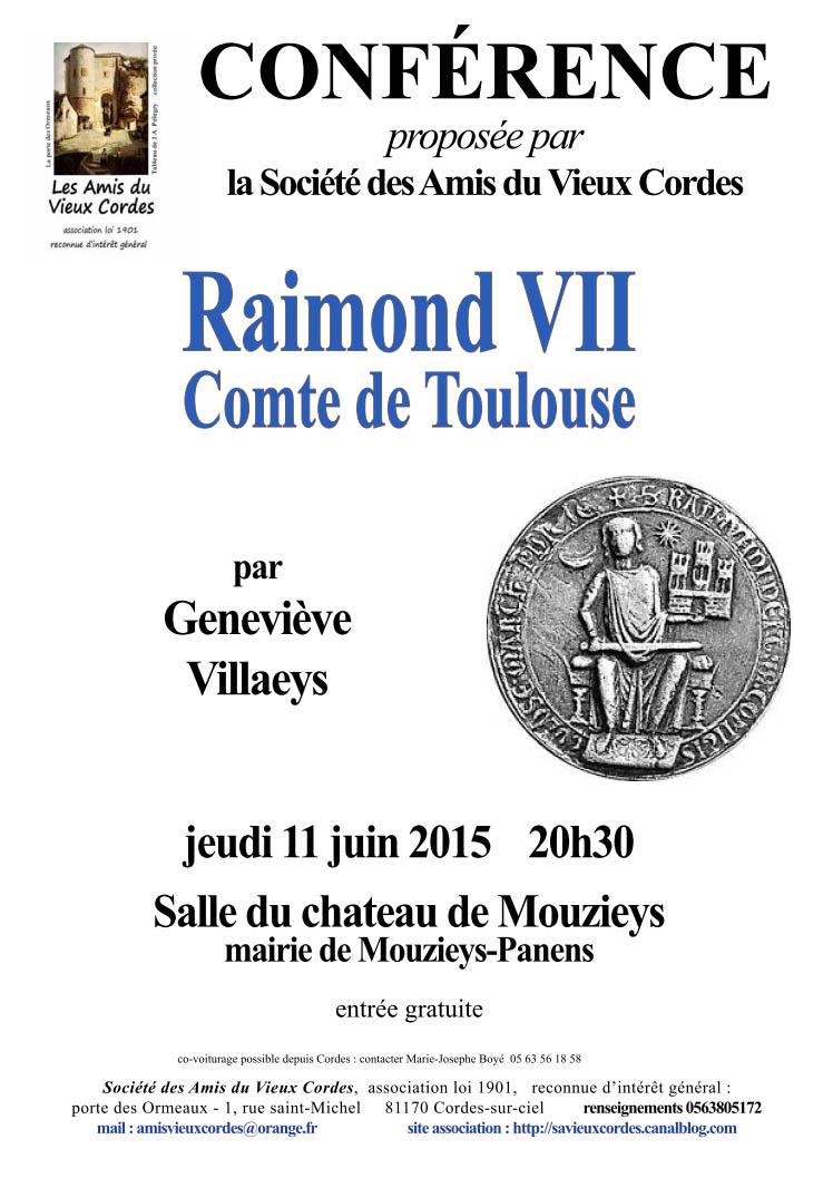 Affiche de la conférence Raimond VII - Société des Amis du Vieux Cordes