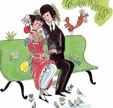 Les amoureux de Peynet sur un banc vert